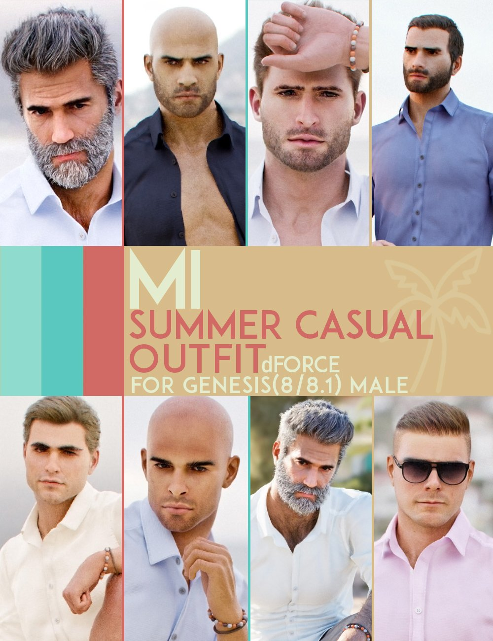 dForce MI Summer Casual Outfit for Genesis 8 and 8.1 Males by: mal3Imagery, 3D Models by Daz 3D