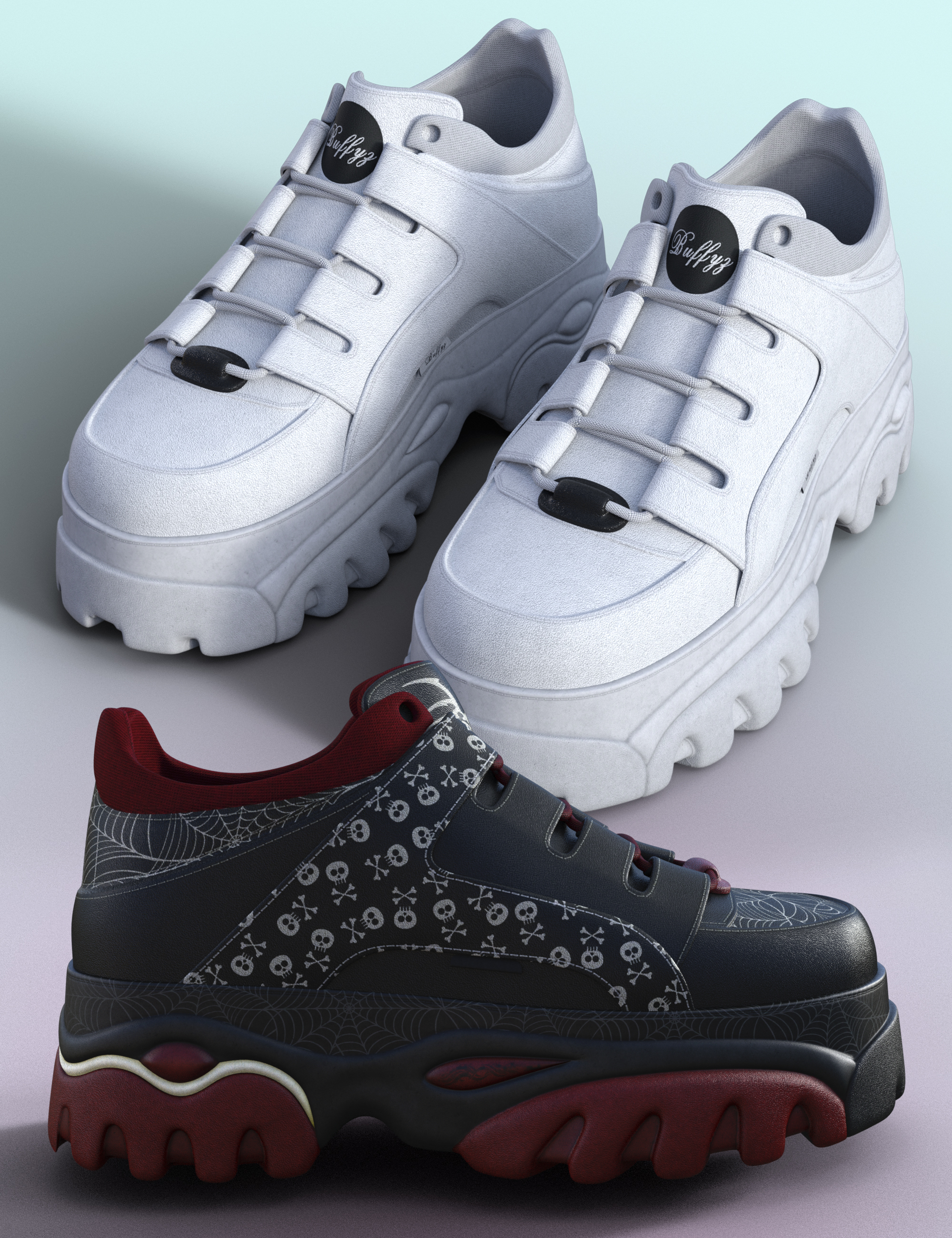 Buffz Platform Sneakers for Genesis 8 Females by: Dogz, 3D Models by Daz 3D