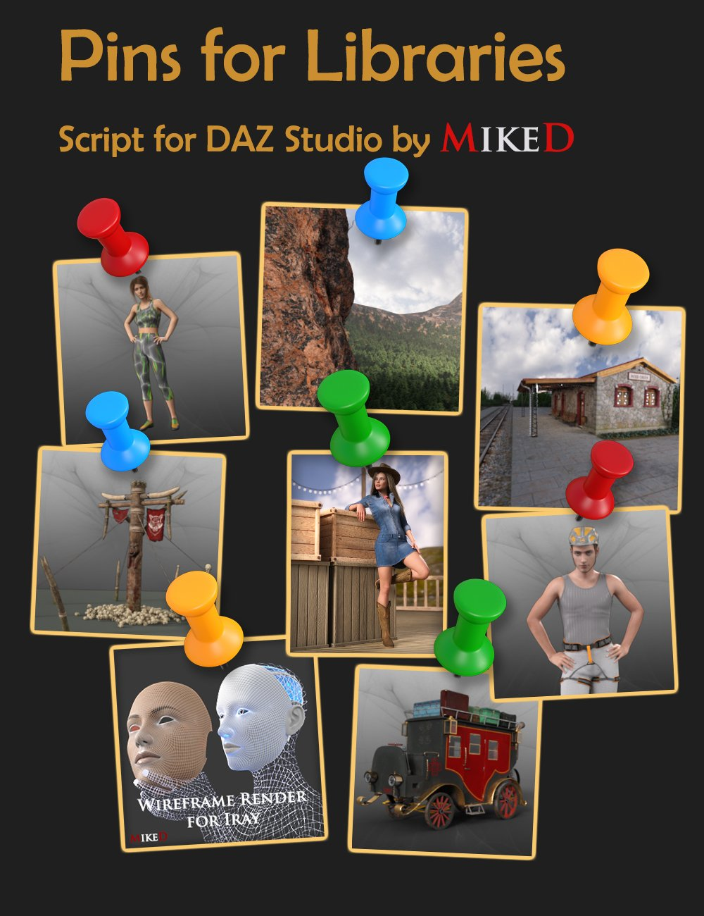 MD Pins for Libraries by: MikeD, 3D Models by Daz 3D