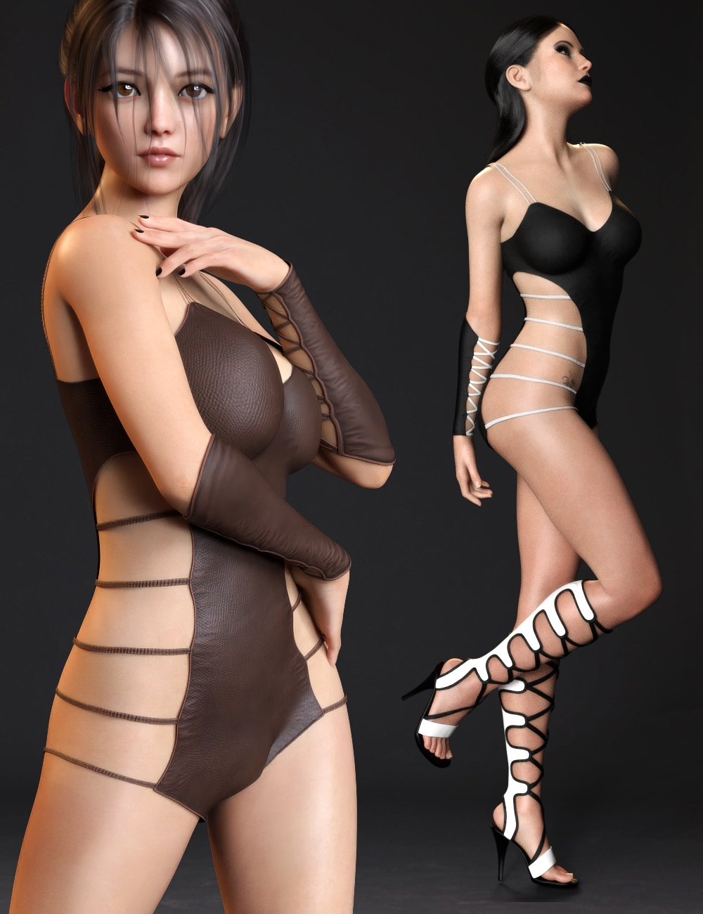 Strappy Suit Set for Genesis 8 and 8.1 Females by: Mytilus3dLab, 3D Models by Daz 3D