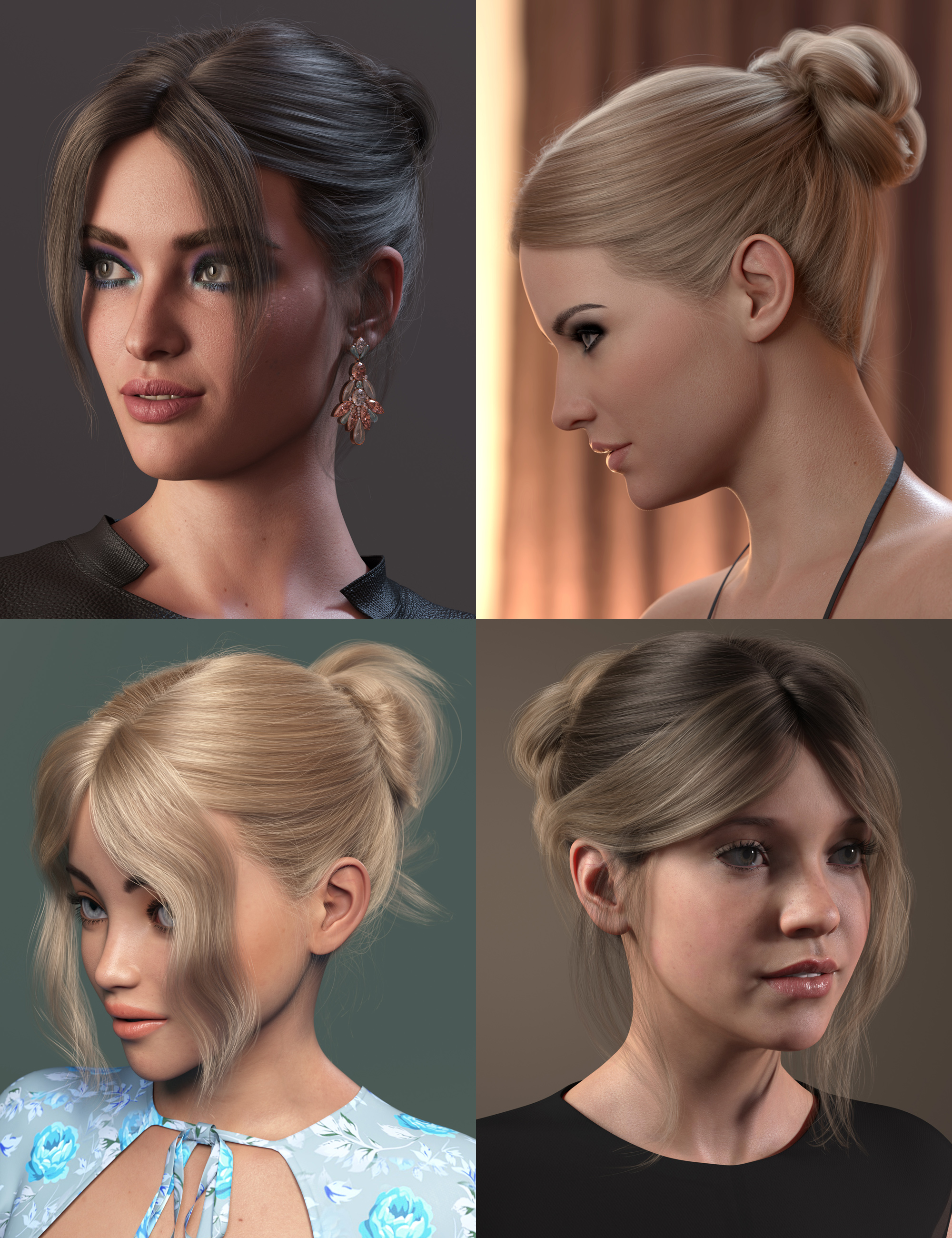 MEGA Updo 2 Hair for Genesis 8 and 8.1 Females by: outoftouch, 3D Models by Daz 3D