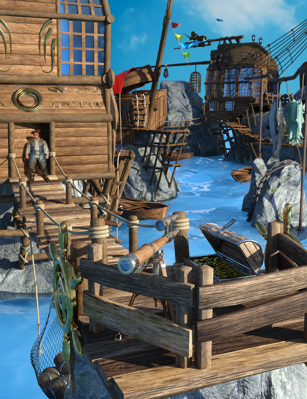 Pirate Hideout by: Feng, 3D Models by Daz 3D