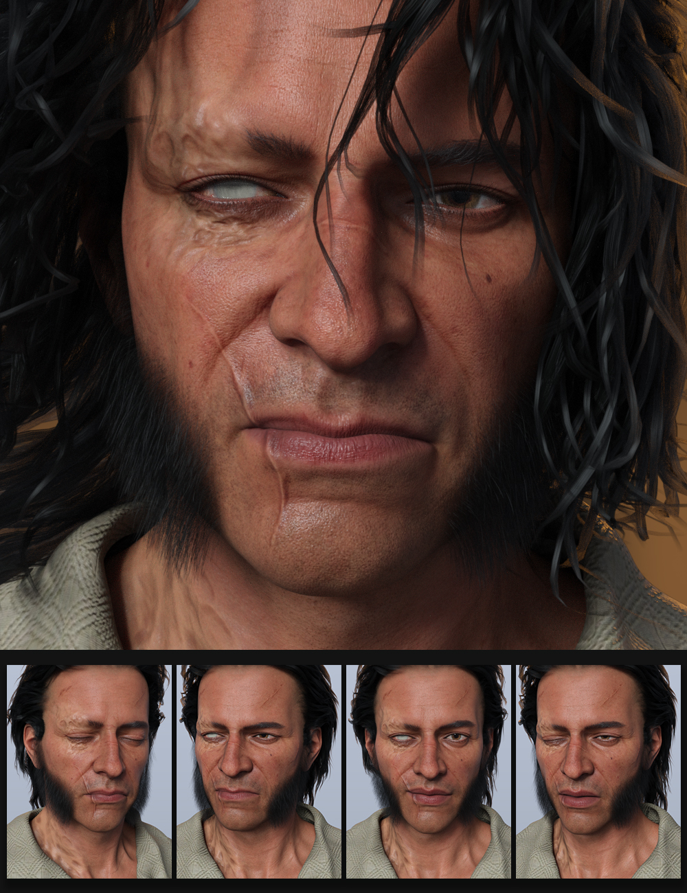 Scourge of the Seas Expression Morphs for Wolfgang 8.1 by: Quixotry, 3D Models by Daz 3D
