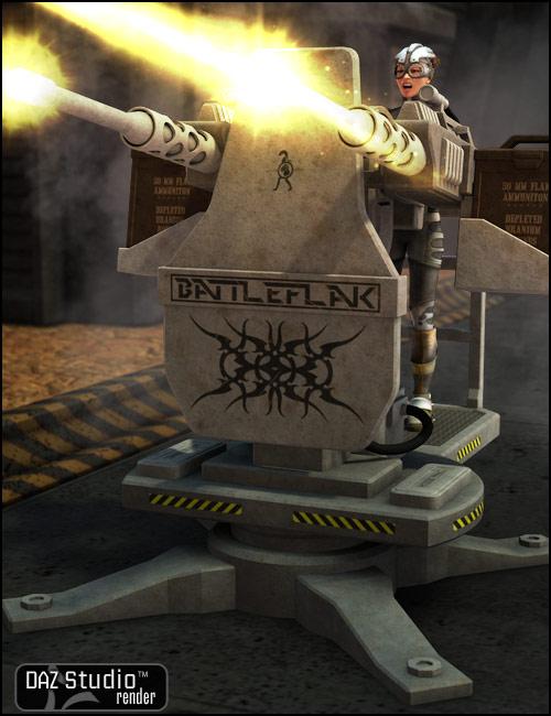 BattleFlak Machine Gun Turret by: Nightshift3D, 3D Models by Daz 3D
