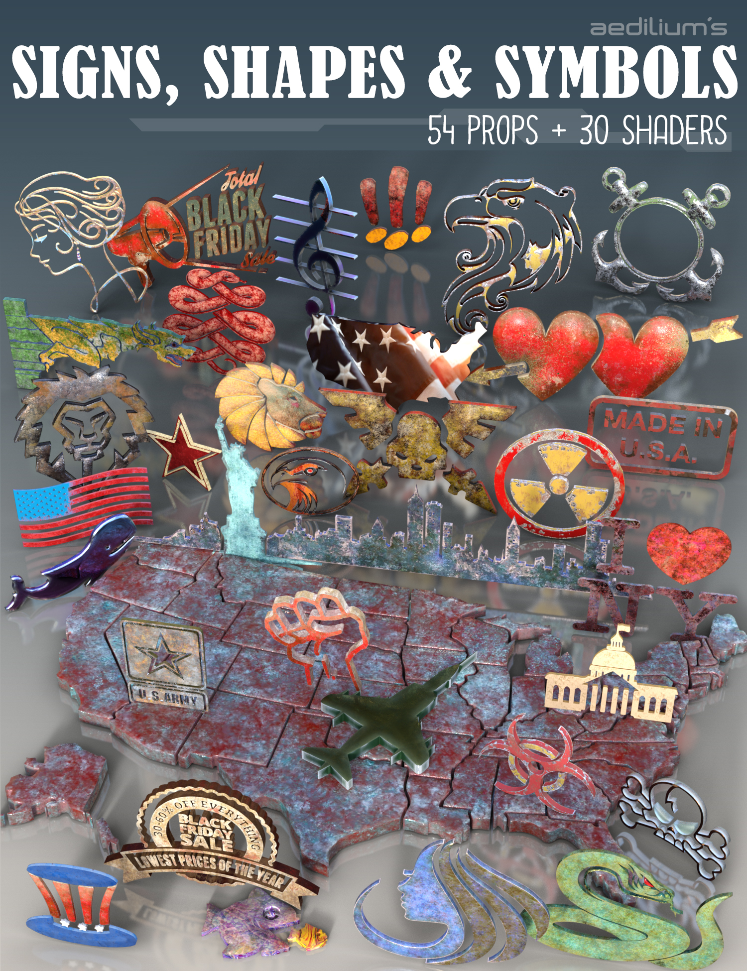 Signs, Shapes and Symbols for DAZ Studio by: Aedilium, 3D Models by Daz 3D