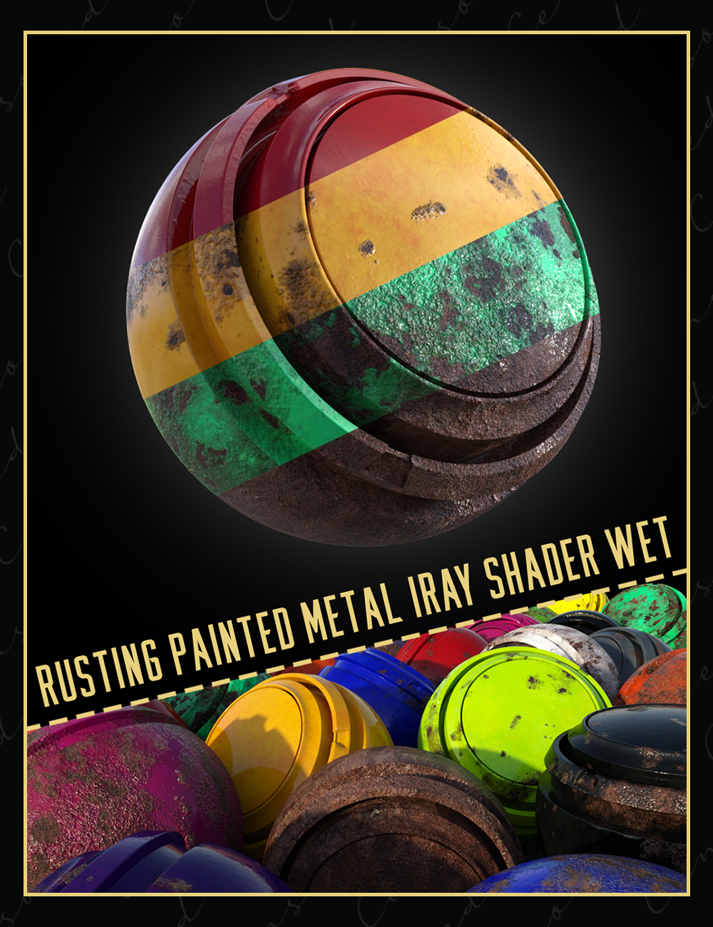 Rusting Painted Metal Iray Shader Wet by: Censored, 3D Models by Daz 3D
