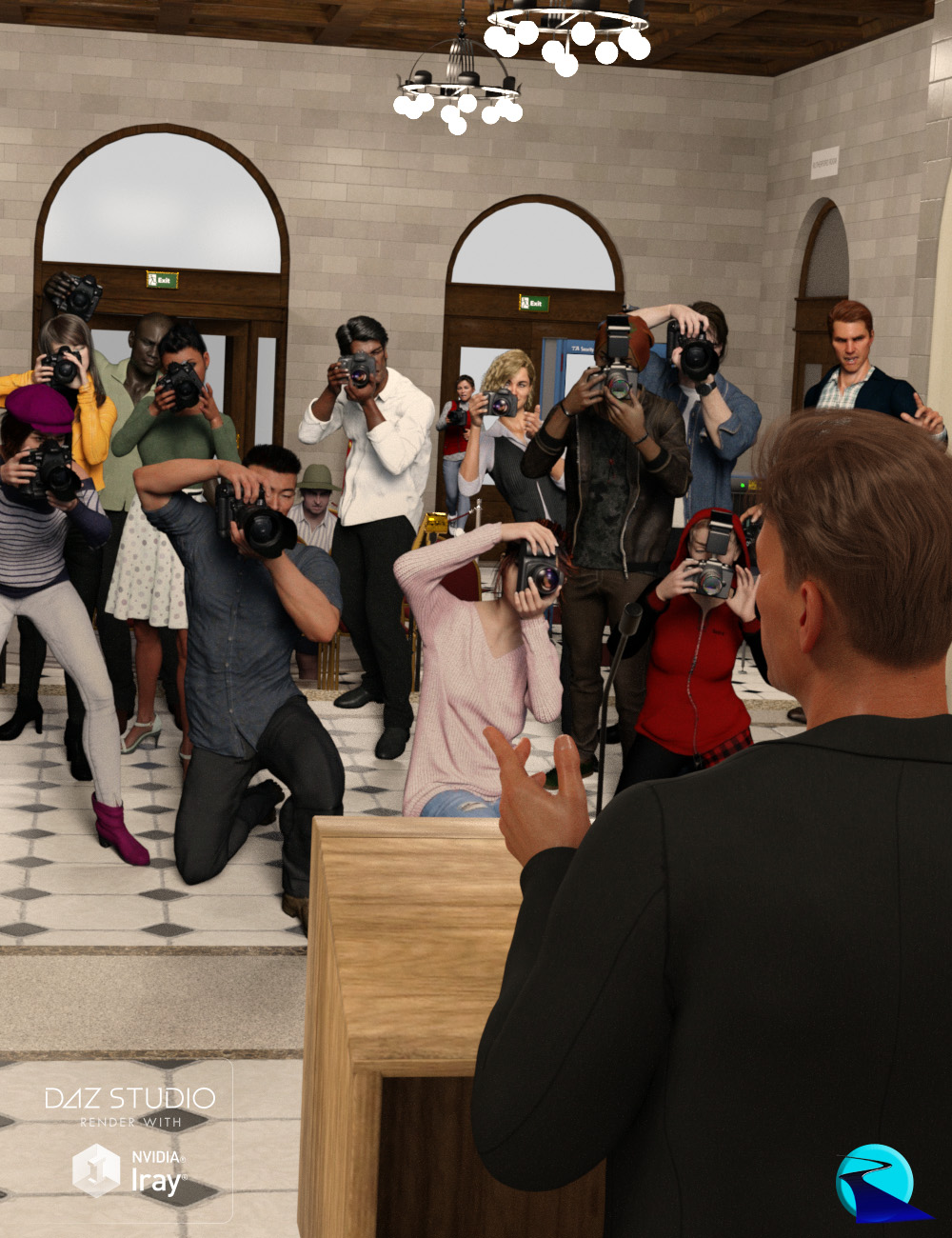 Now-Crowd Billboards - Paparazzi Photographers by: RiverSoft Art, 3D Models by Daz 3D