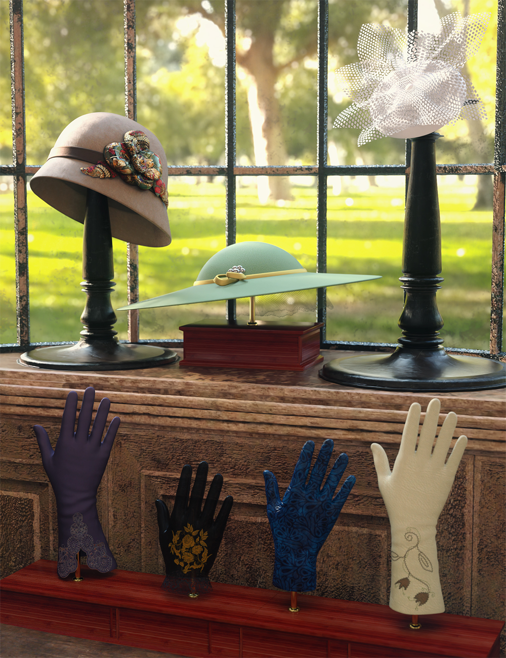 Vintage Hats and Gloves for Genesis 8 and 8.1 Females by: Barbara BrundonUmblefuglySade, 3D Models by Daz 3D