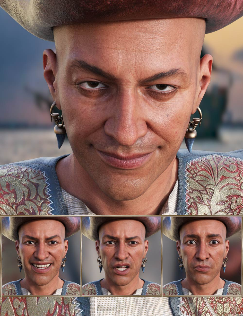 Pirate Life Expressions for Wolfgang 8.1 and Genesis 8.1 Male by: JWolf, 3D Models by Daz 3D