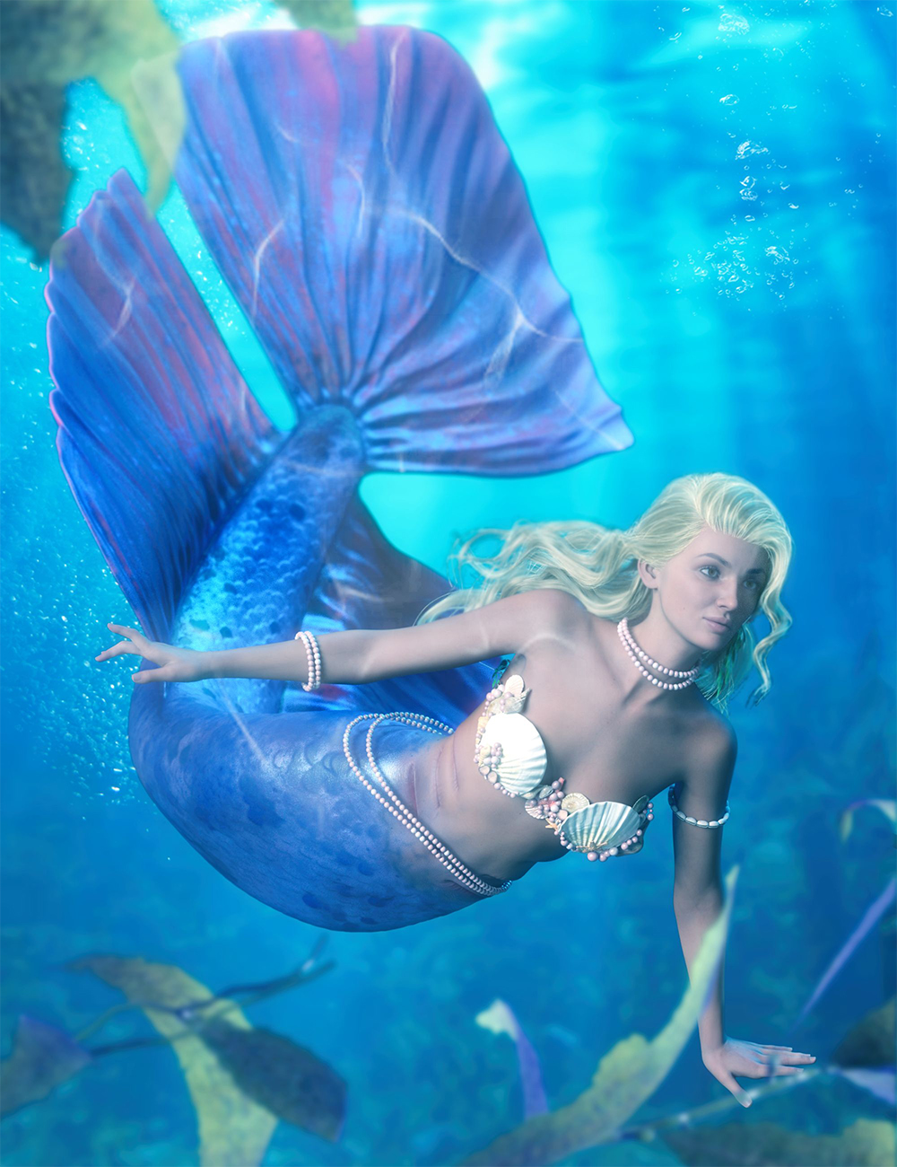BW Sea Pearl Mermaid Outfit For Genesis 8 and Genesis 8.1 Females by: Beautyworks, 3D Models by Daz 3D