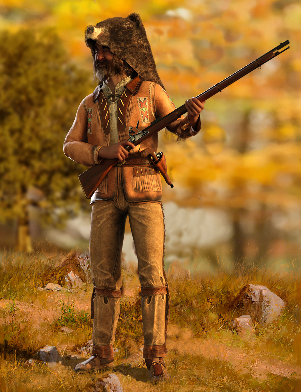 dForce Mountain Trapper Outfit for Genesis 8 Male by: Meshitup, 3D Models by Daz 3D