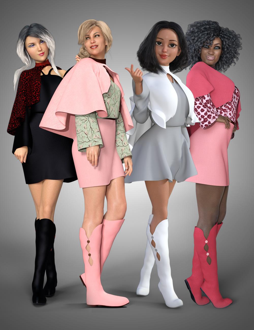 dForce Cape Dress for Genesis 8 Female by: PoisenedLily, 3D Models by Daz 3D