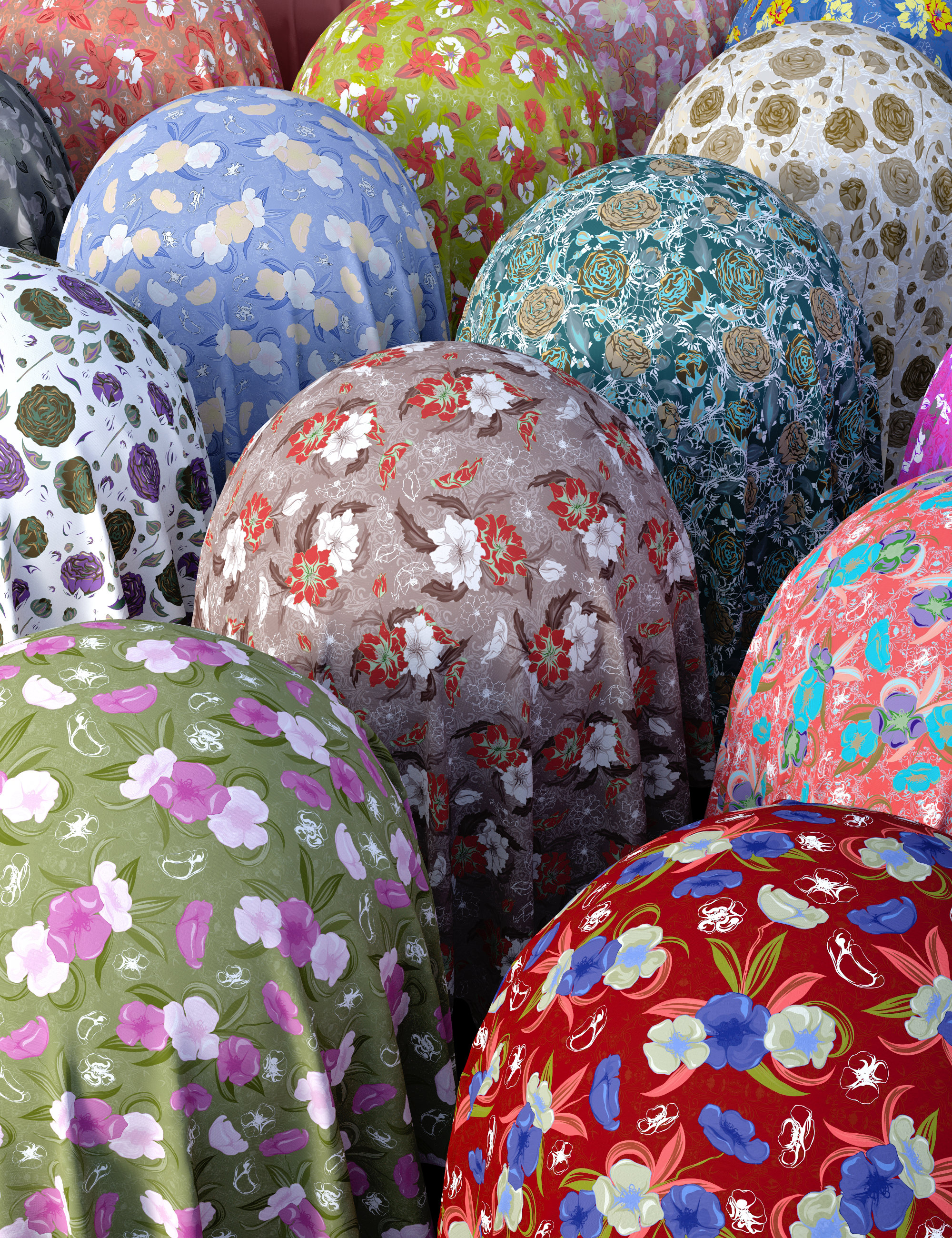 Summer Floral Fabric Iray Shaders by: Nelmi, 3D Models by Daz 3D