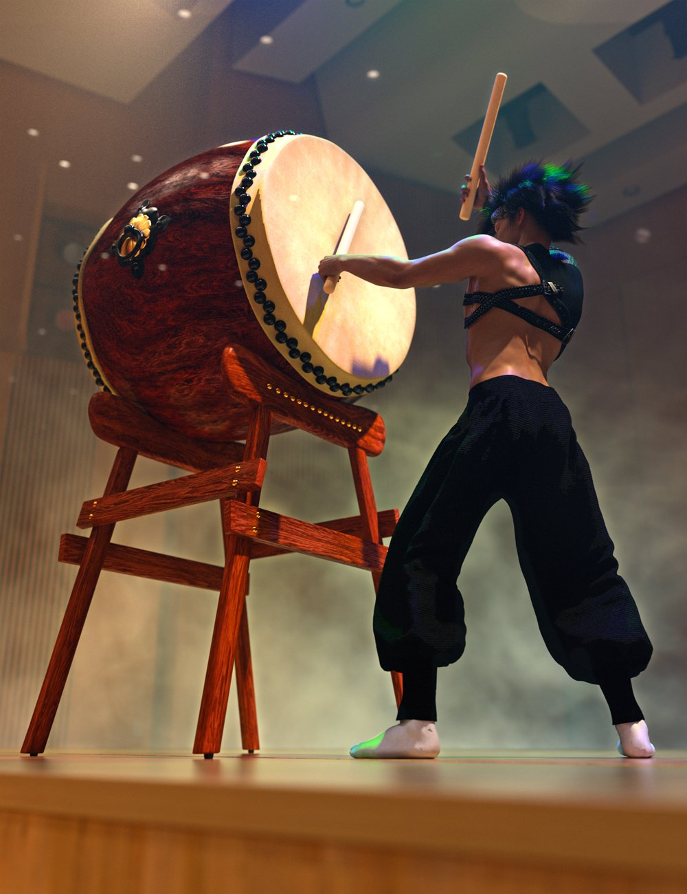 SBibb Taiko Props and Poses for Genesis 8 and 8.1 by: SBibb, 3D Models by Daz 3D