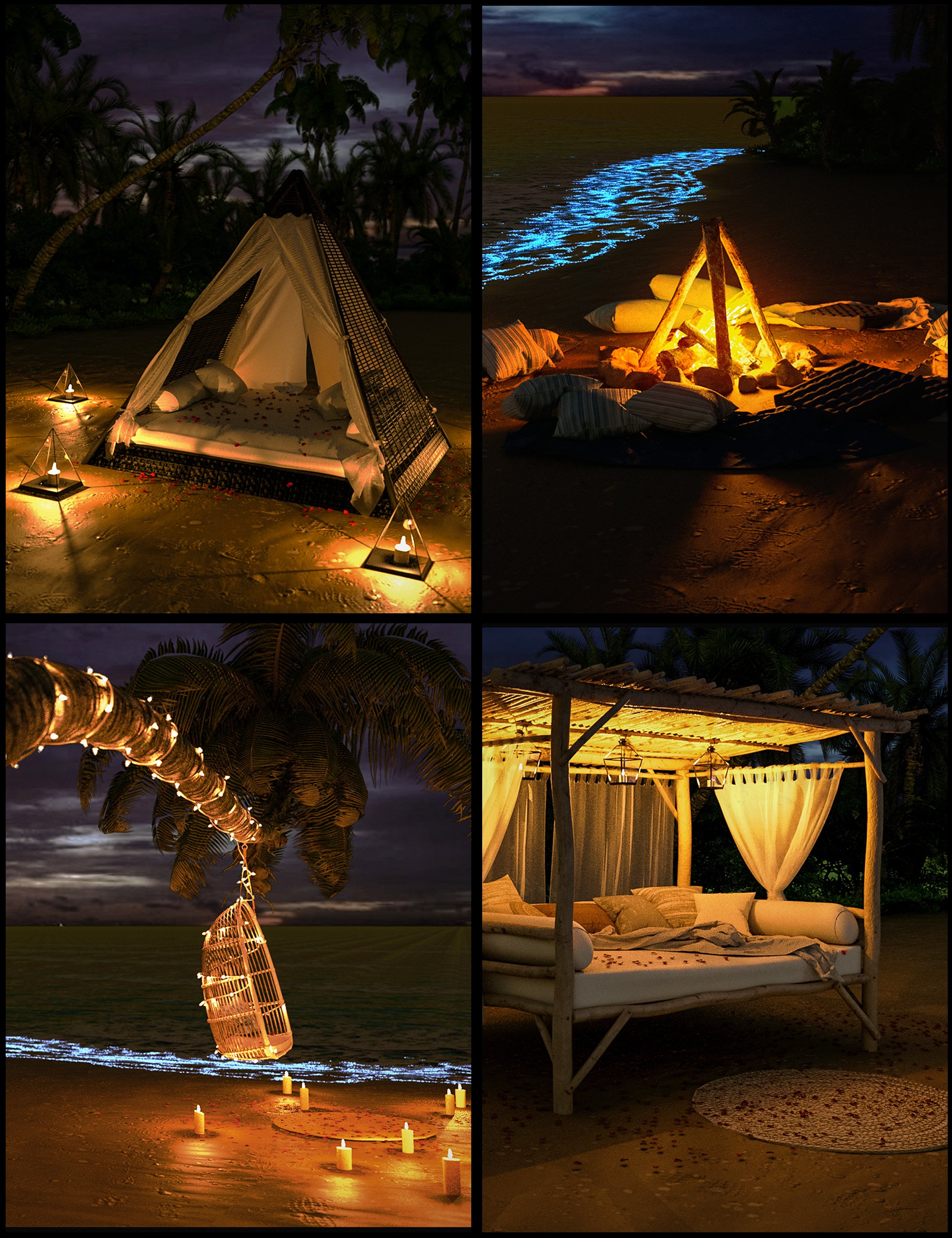 Glowing Beach Props by: Polish, 3D Models by Daz 3D