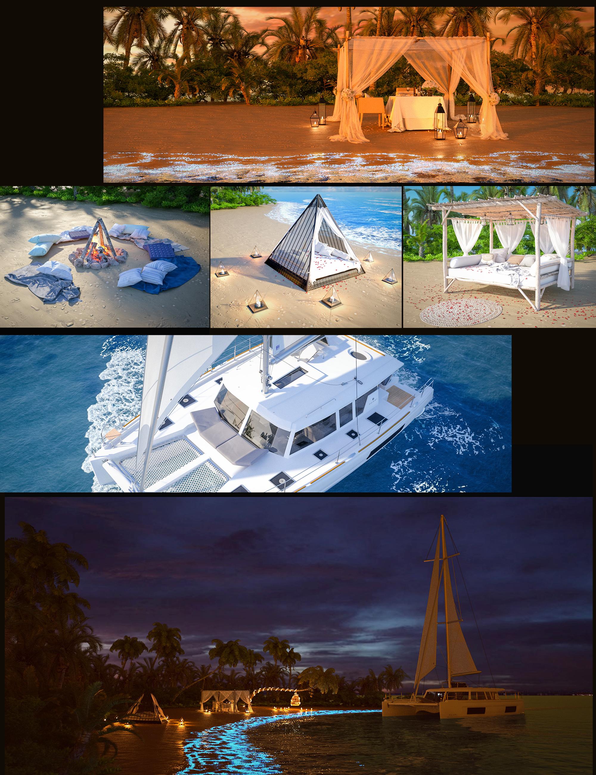 Glowing Beach Bundle by: Polish, 3D Models by Daz 3D
