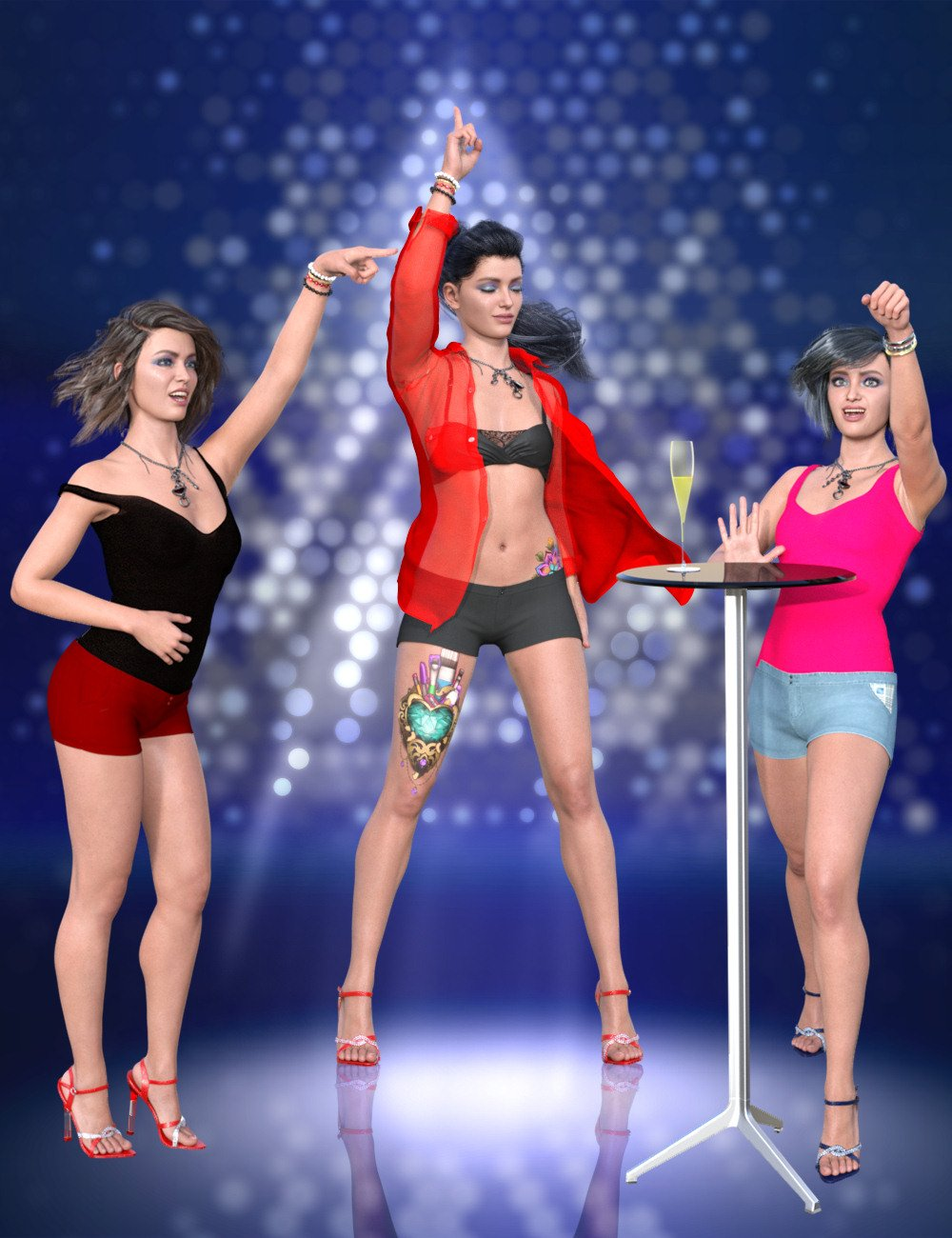 Let's Dance Poses for Genesis 8 and 8.1 Females by: HongZhuang, 3D Models by Daz 3D