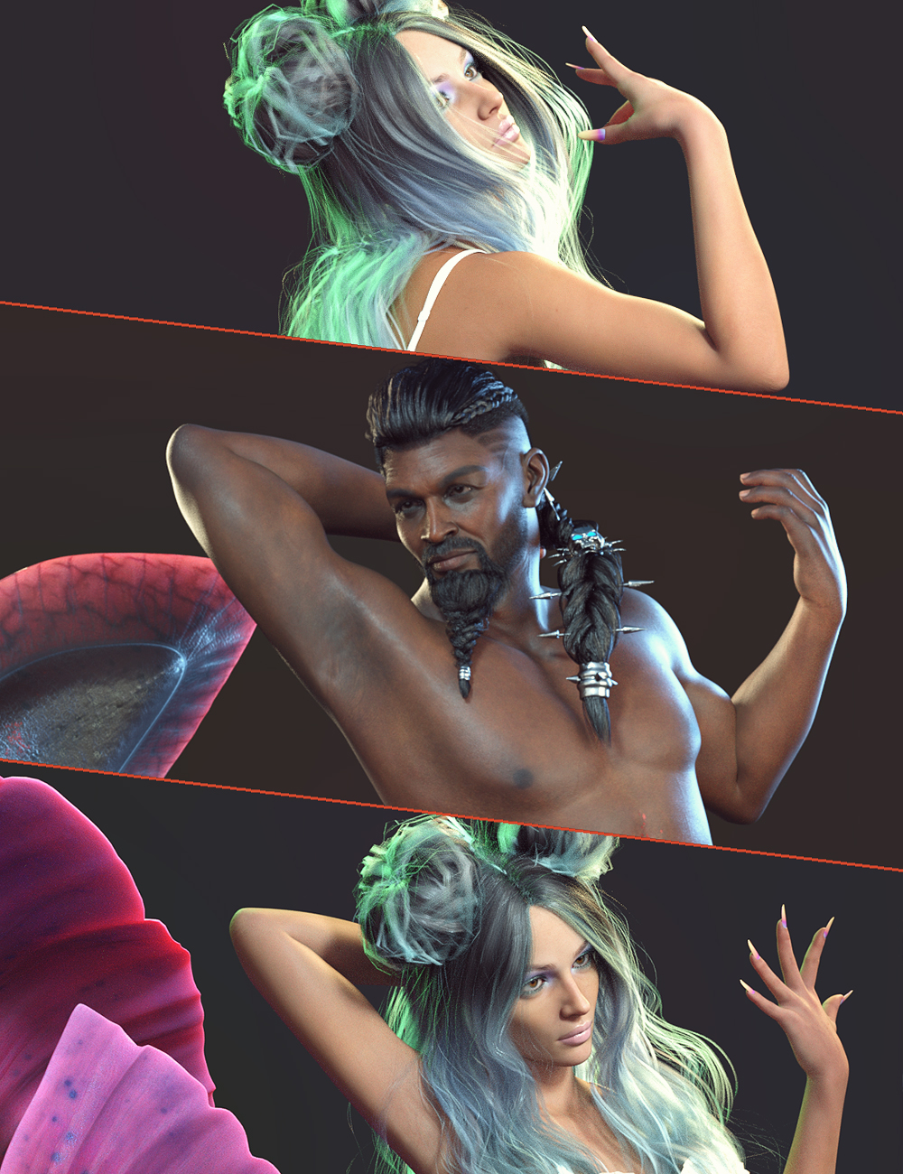 GF Mermaid Fantasy Poses for Zale 8.1 and Coral 8.1 by: Nirvana, 3D Models by Daz 3D
