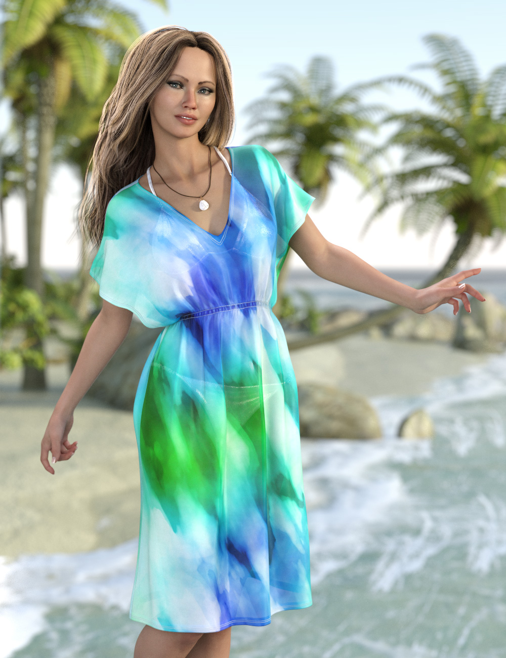 Beach Caftan for Genesis 8 and 8.1 Females by: esha, 3D Models by Daz 3D