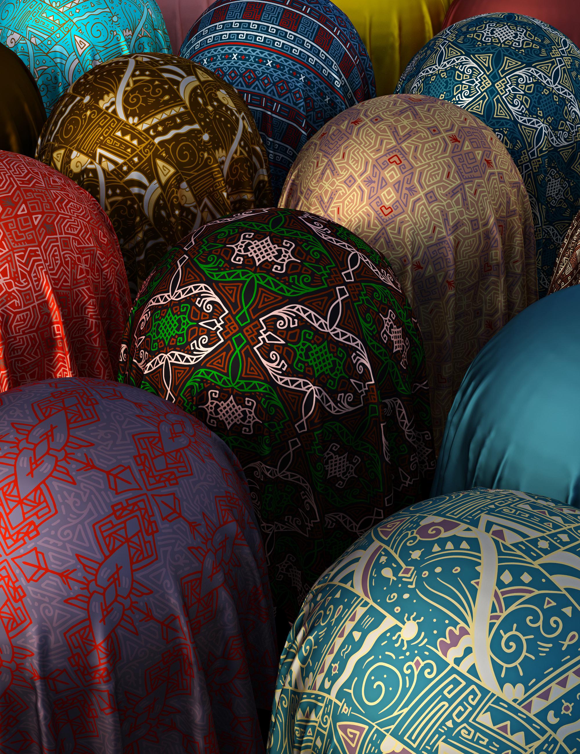 Tribal Silk Fabric Iray Shaders by: Nelmi, 3D Models by Daz 3D
