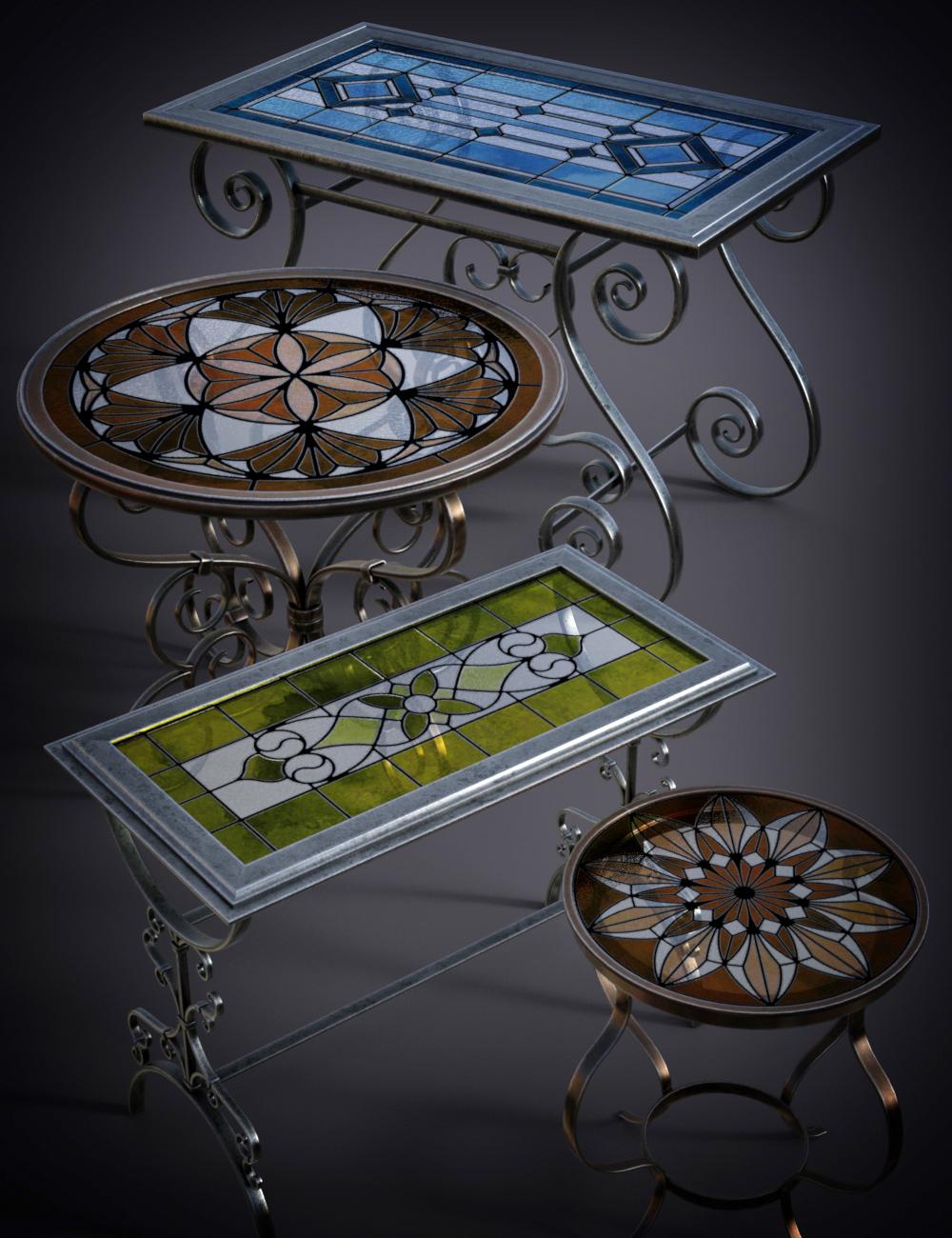 B.E.T.T.Y. Stained Glass Tables by: B.E.T.T.Y, 3D Models by Daz 3D