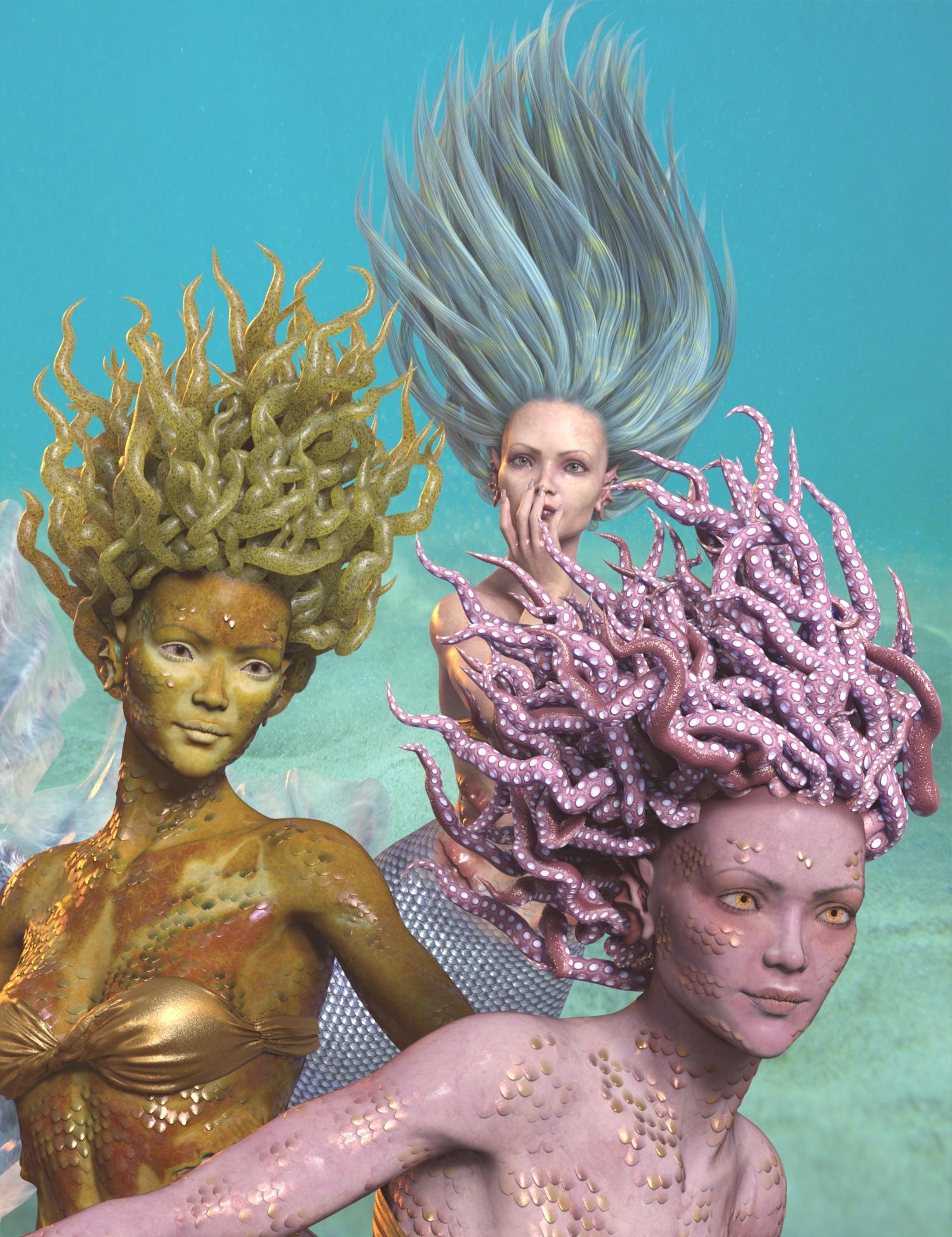 dForce Marina Mermaid Hair for Genesis 8 Females by: 3D-GHDesignAe Ti, 3D Models by Daz 3D