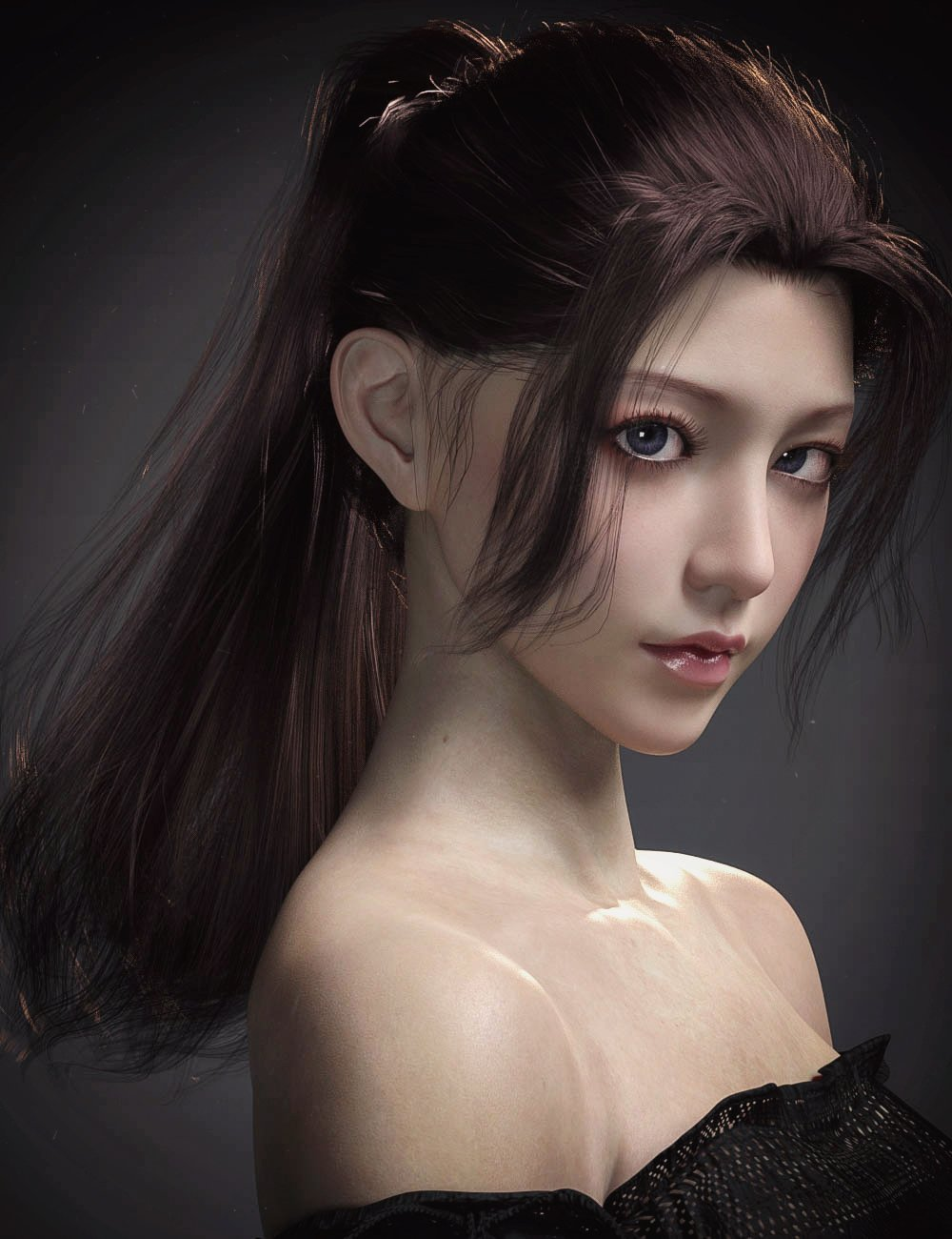 Hotba Hair for Genesis 8 and 8.1 Females by: Crocodile Liu, 3D Models by Daz 3D
