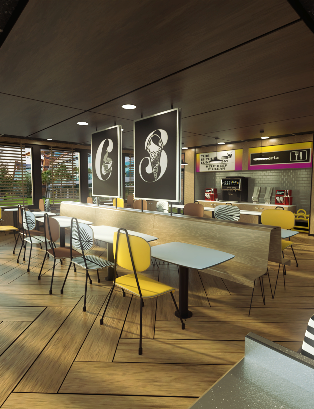 Office Cafeteria by: Digitallab3D, 3D Models by Daz 3D