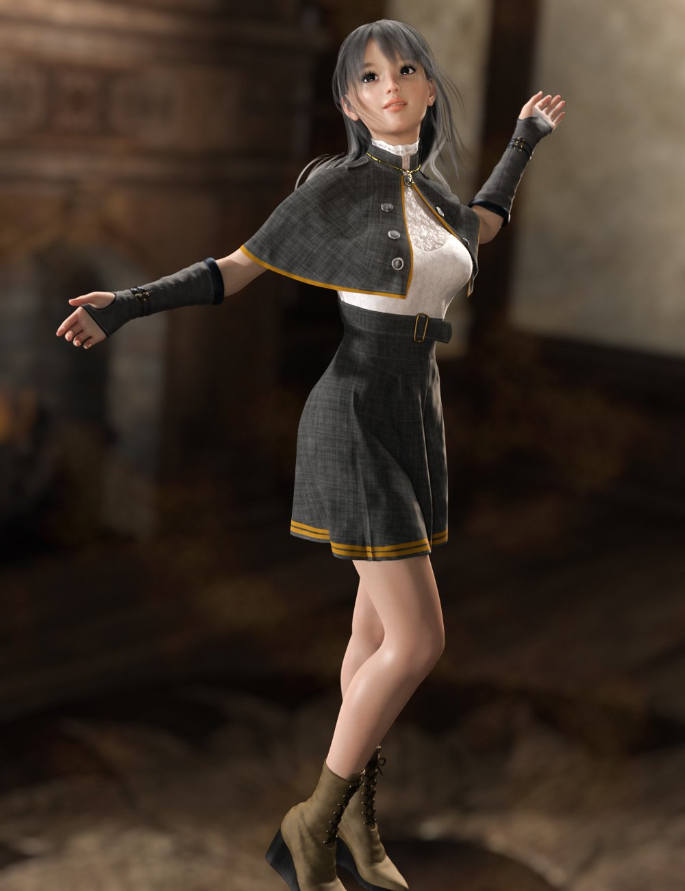 dForce Stylish Cleric Outfit for Genesis 8 Females by: tentman, 3D Models by Daz 3D
