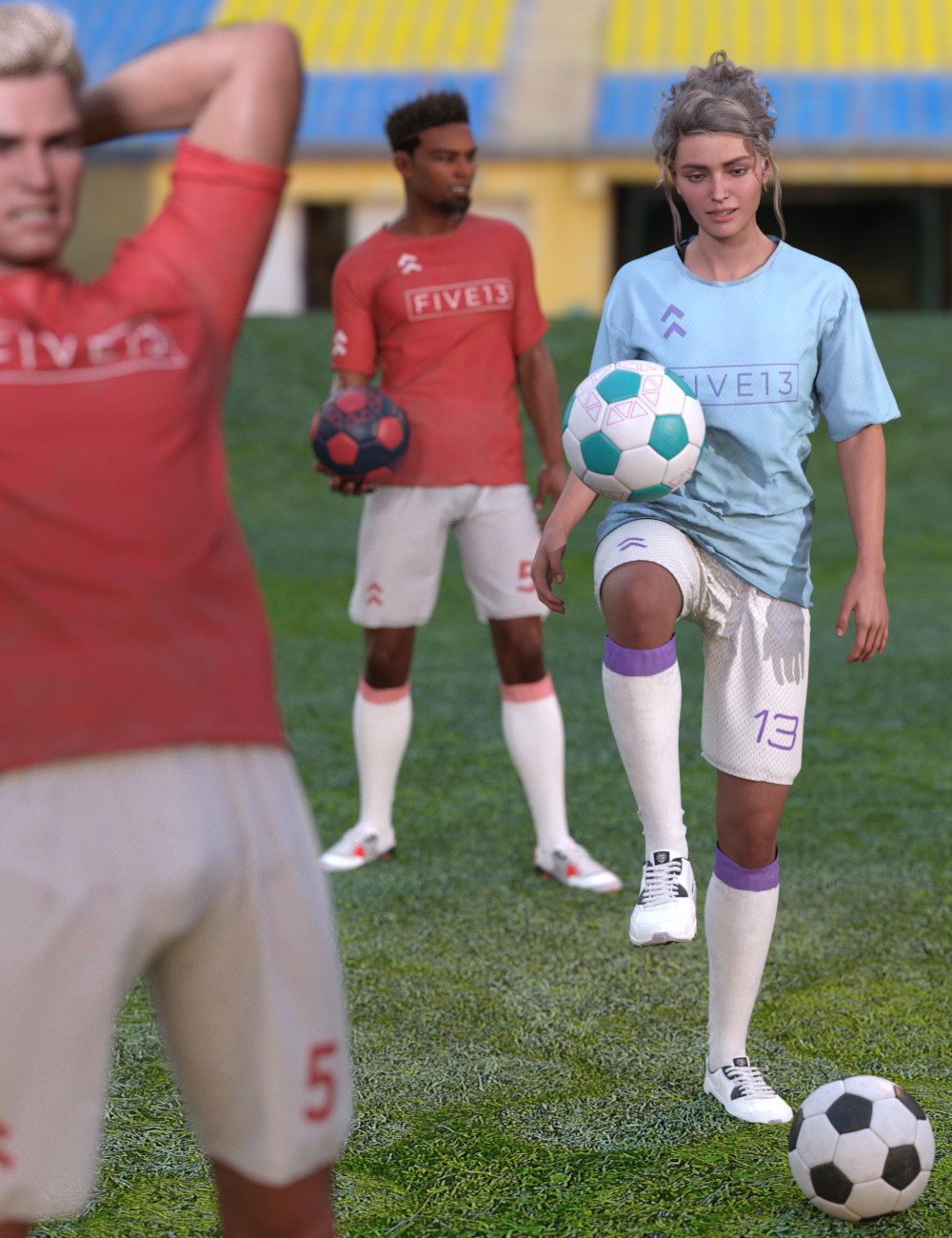 Kickabout Soccer Ball and Poses for Genesis 8 and 8.1 Male and Female by: Five13, 3D Models by Daz 3D