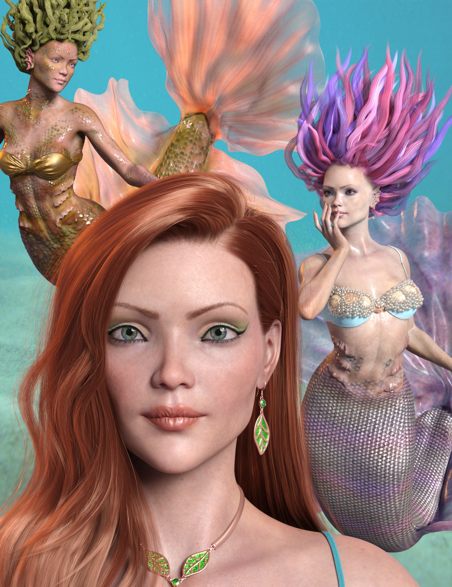 Marina Mermaid Triplet for Genesis 8.1 Female and Coral 8.1 Tail by: 3D-GHDesignAe Ti, 3D Models by Daz 3D