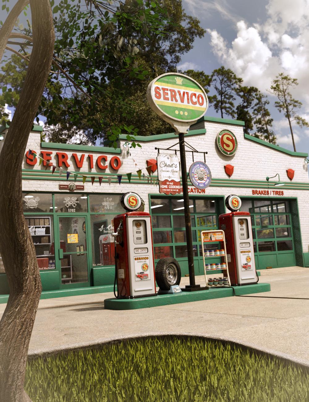 Servico Vintage Gas Station by: SloshWerks, 3D Models by Daz 3D