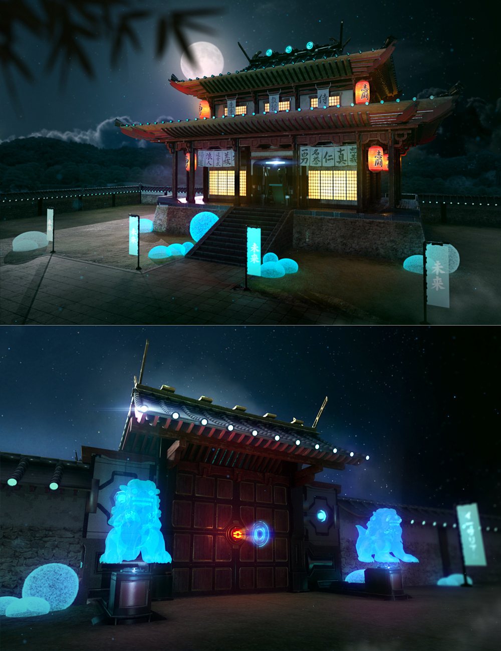 Futuristic Samurai Compound - Environment and Props by: ThreeDigital, 3D Models by Daz 3D