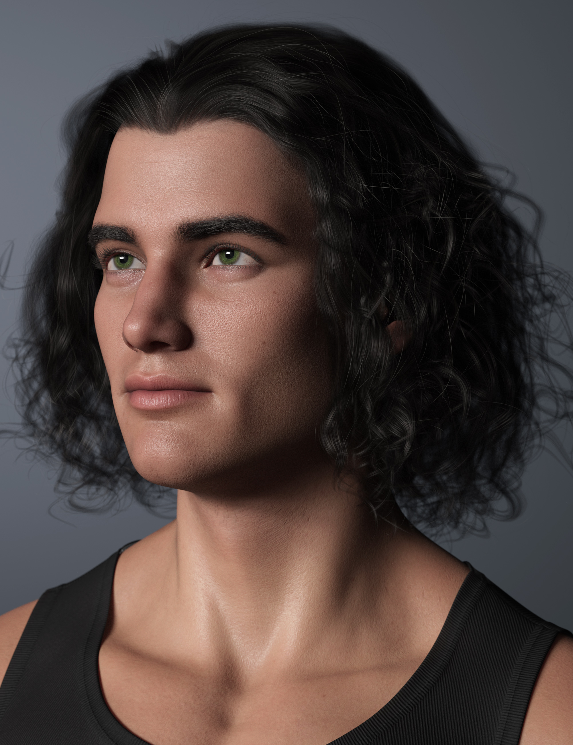 Curly Swept Style Hair for Genesis 8 and Genesis 8.1 Males by: outoftouch, 3D Models by Daz 3D