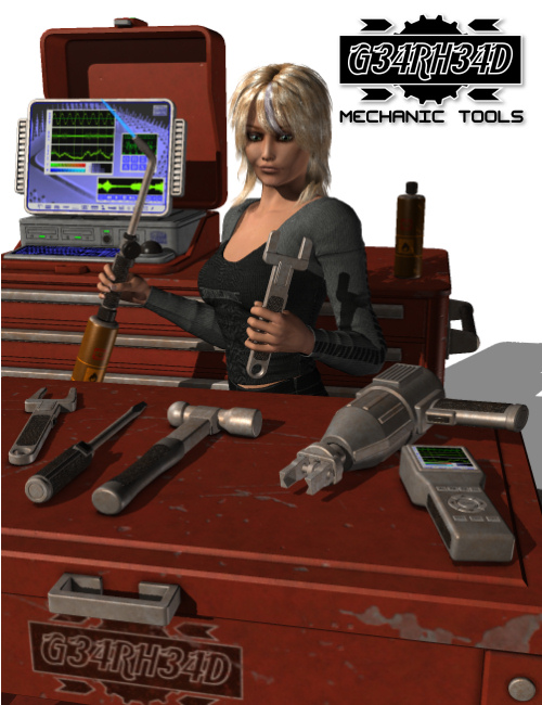 G34RH34D Mechanic Tools by: Nightshift3D, 3D Models by Daz 3D