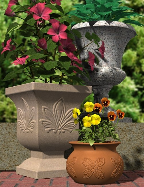Get Potted! Plant Container Collection by: blondie9999, 3D Models by Daz 3D