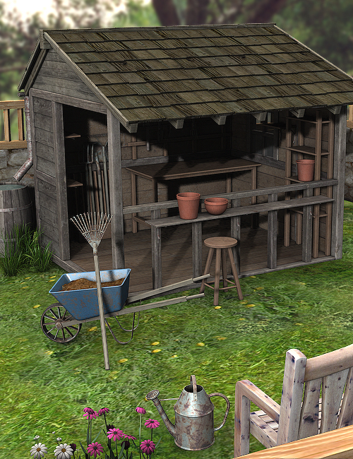 Potting Shed and Tools by: , 3D Models by Daz 3D