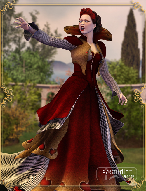 Wonderland Queen of Hearts V4 by: Barbara Brundon, 3D Models by Daz 3D
