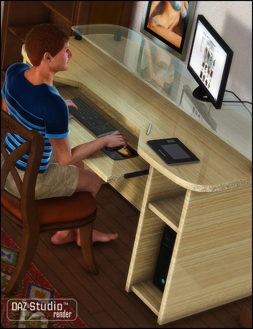 Computer Desk by: Valandar, 3D Models by Daz 3D
