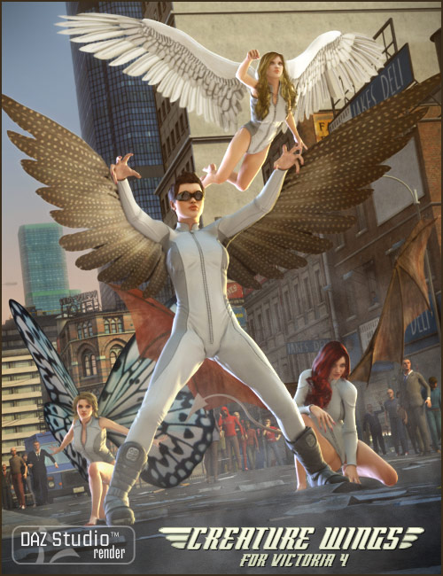 V4 Creature Wings by: RawArt, 3D Models by Daz 3D