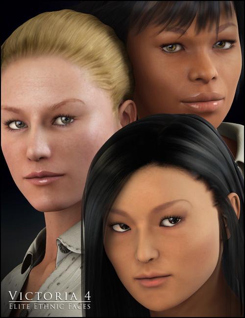V4 Elite Ethnic Faces by: , 3D Models by Daz 3D