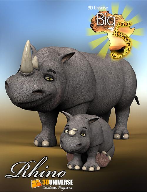 Toon Big 5 Rhino by: 3D Universe, 3D Models by Daz 3D