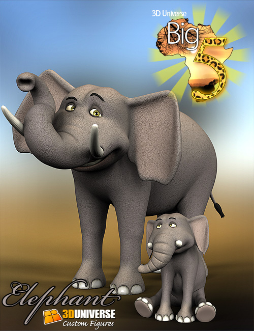 Toon Big 5 Elephant by: 3D Universe, 3D Models by Daz 3D