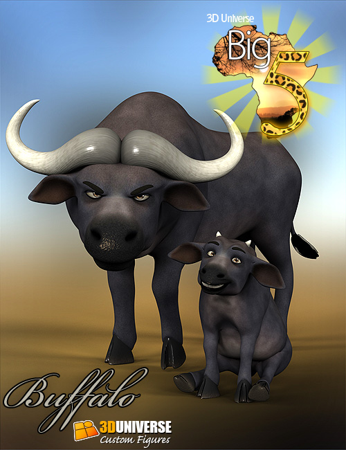 Toon Big 5 Buffalo by: 3D Universe, 3D Models by Daz 3D