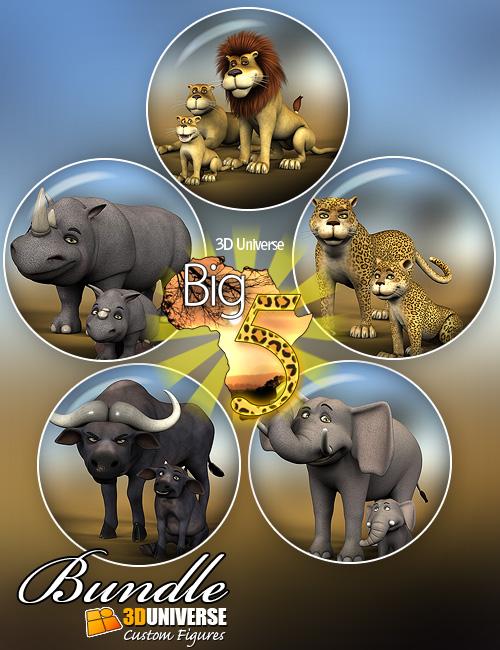 Toon Big 5 Bundle by: 3D Universe, 3D Models by Daz 3D